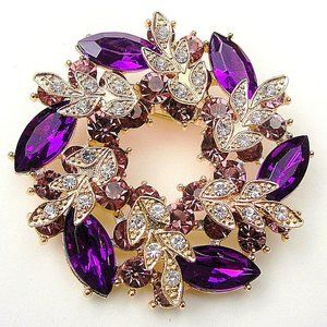 Lovely Purple Pin Wheel Flower RHINESTONE Brooch
